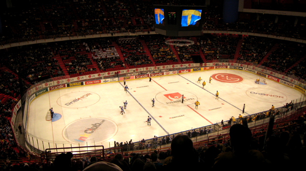 Finale de hockey Suède-Finlande, février 2009