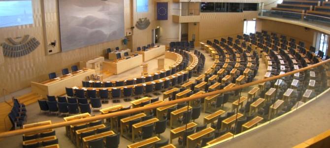 Sveriges Riksdag, le Parlement suédois.
