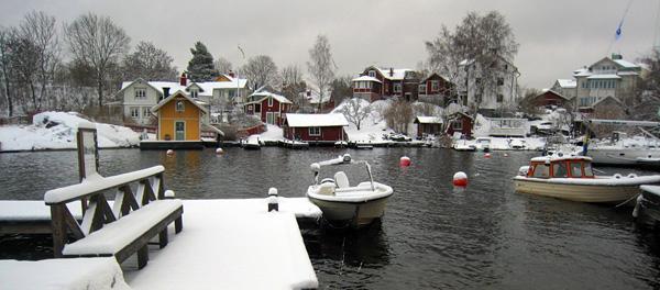 Vaxholm sous la neige