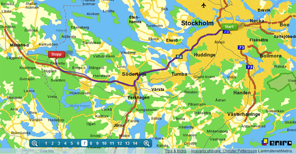 Itineraire Stockholm-Taxinge